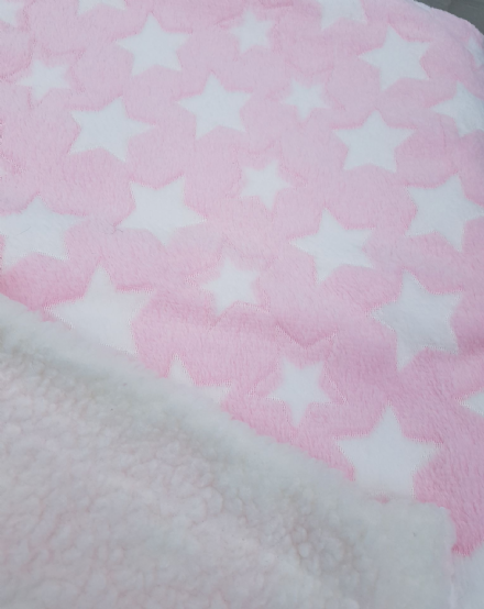 Cuddle fleece super soft PINK  WHITE STARS Dog / Cat blanket